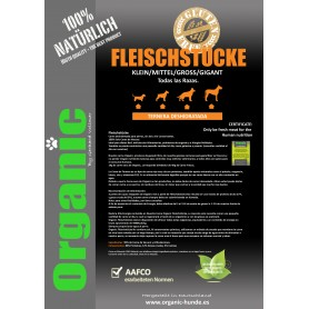 Carne Natural de Ternera deshidratada para perros 10kgs/Organic Fleischtücke