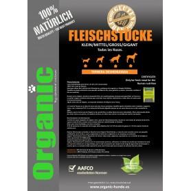Organic Fleischtücke / Carne deshidratada Ternera para perros 10kgs