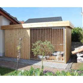 VILLA FLACHDACH Caseta Nórdica para perros con techo plano y puerta