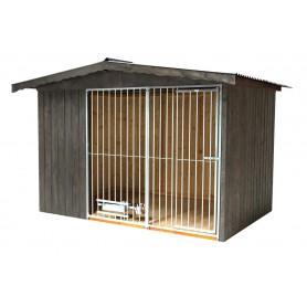 Caseta Nórdica para perros Gris Grafito con techo a dos aguas