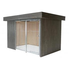 VILLA FLACHDACH GRAPHITGRAU - Caseta Nórdica para perros Color Grafito con techo plano y puerta