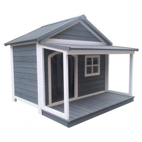 Caseta de madera para perros con porche