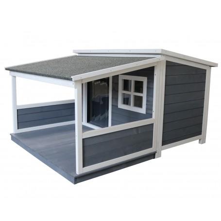 Caseta de madera para perros con porche Terraza